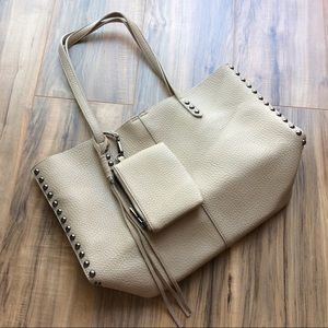 Tan Tote Bag with Gunmetal Gray Studs Coin Purse
